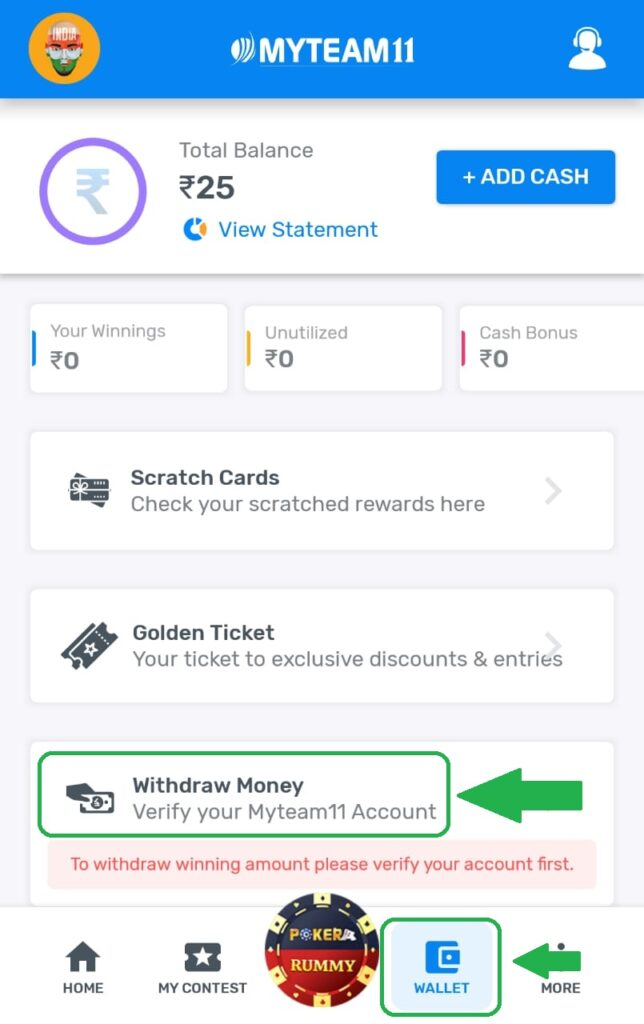 How to Withdraw Cash and Bonus from MyTeam11 App?